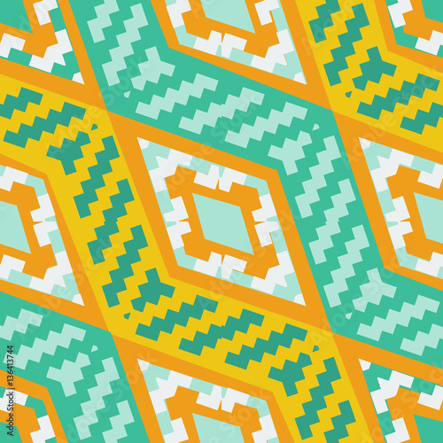 Cotton fabric Yellow and turquoise diagonal african geometric pattern