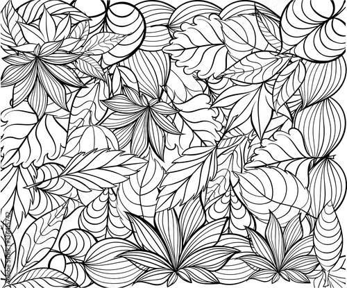 Hand drawn ink pattern. Coloring book for adult - 136415742
