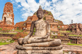 bouddha de pierre, temple de wat phra mahathat, Ayutthaya, Thaïlande