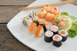 Set of assorted sushi served on plate