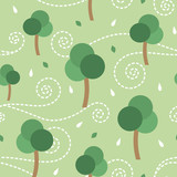 Trees and the storm vector seamless pattern background - 136427708