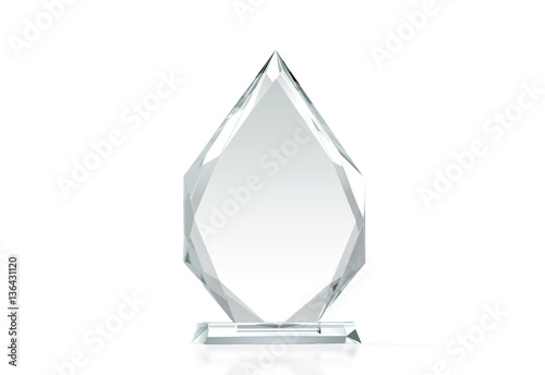 blank arrow shape glass trophy mockup 3d rendering empty acrylic