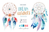 Isolated Watercolor decoration bohemian dreamcatcher. Boho feath - 136436139