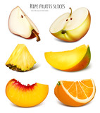 Slices of fresh fruits
