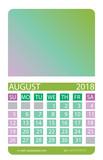 Calendar grid. August.