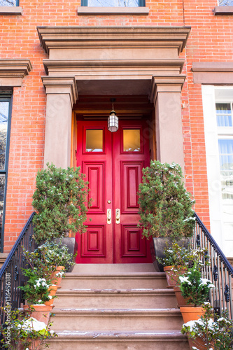 Typical Entrance door to a New York City apartment building residential home Poster