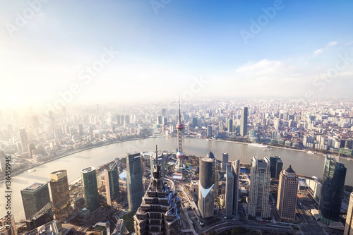 Fotobehang Shanghai Aerial View of Shanghai Cityscape