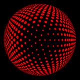 Volume halftone red ball on black