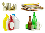 Four groups of household recyclable items: metal, paper, plastics, and glass. Pure white background.