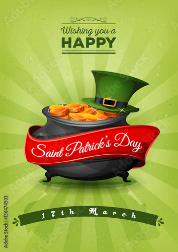 Happy St. Patrick's Day Retro Postcard