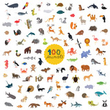 Fototapety set a hundred animals on the planet