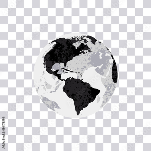 American continent isolated on transparent background earth globe american continent isolated on transparent background earth globe monochrome world map vector illustration gumiabroncs Images