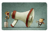 boss shouting at businessman through a big megaphone