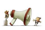 boss shouting at businessman through a big megaphone