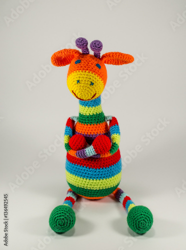 Knitted Striped Giraffe Funny Toy Gift Poster