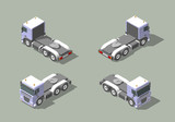 Truck cab in four views isometric icon vector graphic illustration design. Infografic elements