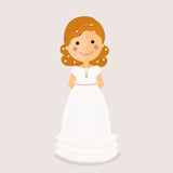 Girl communion with curly hair on ochre background - 136502338