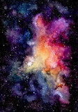 Watercolor Bright Pink Galaxy and Starry Sky - 136502733