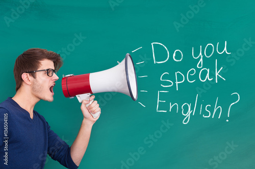 Man Doing Announcement Of English Speaking On Megaphone Poster