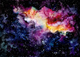 Watercolor Background with Cloud and Outer Space
