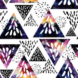 Seamless Pattern of Watercolor Black and Colorful Triangles