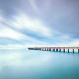 Concrete pier or jetty on a sea. Marina di Carrara, Italy