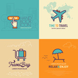 Book online button flat icon, Airplane flat icon, Travel bag flat icon and Relax & Enjoy flat icon / vector illustration eps-10. - 136508510