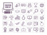 Education line icon set - 136509118
