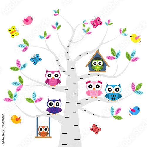 Fotobehang Uilen cartoon Vector set of a colorful owls at the birch tree