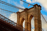 Brooklyn bridge with cloudy blue sky, New York