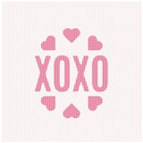 XOXO abbreviation means hugs and kisses on soft jumper pattern.