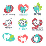 Stomatology Clinic Happy Teeth Emblems Poster