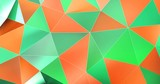 Orange Green Abstract Background Polygonal Surface Motion. Perfectly looped.
