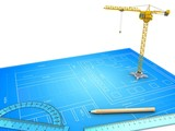 3d illustration of crane over blueprint background with drawing tools