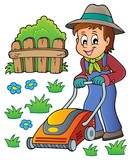 Gardener with lawn mower theme image 1