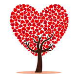 Tree of love with red hearts. White background vector