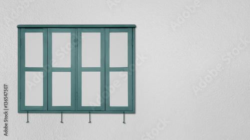 Green Window on gray walls - 136547507