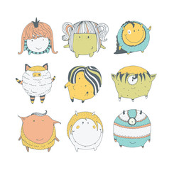 Set of cute colorful monsters, hand drawn in doodle style, isolated on white background. Lovely characters collection. Vector illustration, good for kids illustration and childish design.