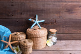 Background with marine items on wooden planks.