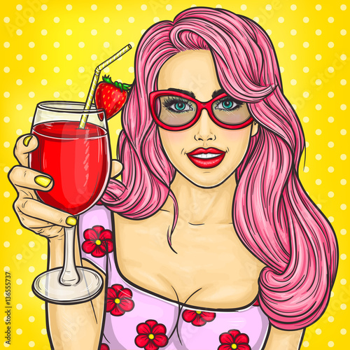 Sexy pop art girl holding a cocktail in her hand © vectorpocket