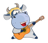 Illustration of a Cute Cow Guitarist. Cartoon Character