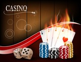 Poker casino gambling set with dice, cards, and chips on wood background