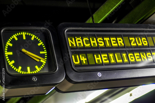 Vienna, Karlsplatz underground station, Metro, clock, luminous s © visualpower