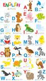 English alphabet with funny animals