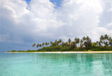 Paradise tropical island with coconut palm trees and white sand beach, turquoise sea water around