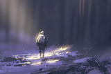 Fototapety alone astronaut walking in snow,illustration painting