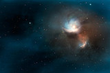 Space scene. Blue silent nebula with orange core. Elements furnished by NASA