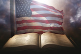 Holy Bible with the american flag - 136590958