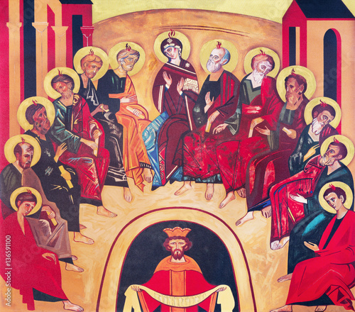VIENNA, AUSTRIA - DECEMBER 19, 2016: The icon of Pentecost on the canvas in church Brigitta Kirche by unknown artist of 20. cent. © Renáta Sedmáková