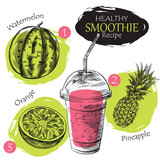 Hand drawn smoothie recipe isolated on white background. Watermelon, pineapple, orange smoothie sketch elements. Eco healthy ingredients vector illustration. Great for poster, banner, voucher, coupon. - 136597122